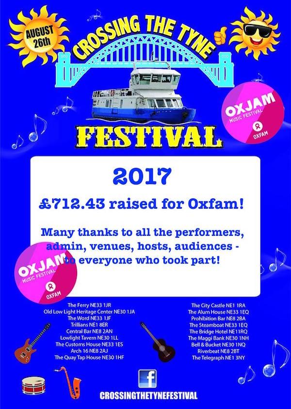 2017 Crossing The Tyne Festival Poster - money raised 600x845
