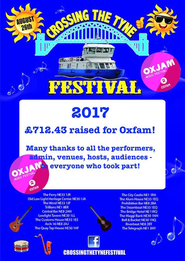 2017 Crossing The Tyne Festival Poster - money raised 600x845