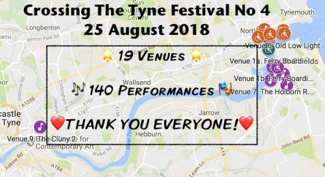 2018 Crossing The Tyne Festival Google Map screenshot 800x436 + NOTES