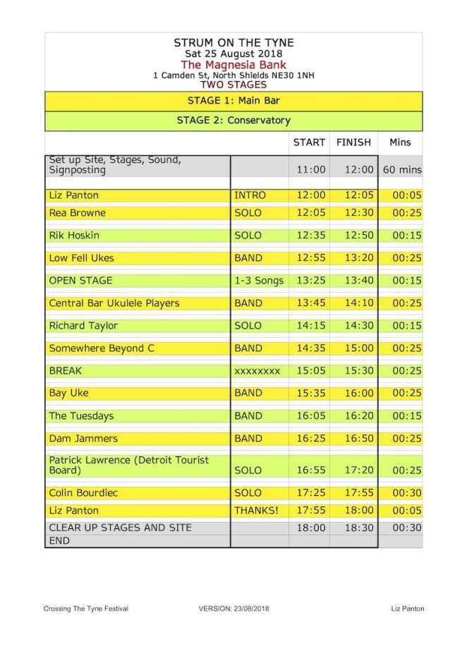 2018 Strum on The Tyne - Running Order